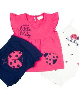 komplet niemowlęcy dla dziewczynki biedronka tunika body bloomersy