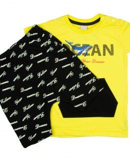 letni komplet dla chłopca czarne szorty i żółta koszulka