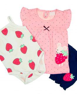 komplet dla dziewczynki różowa tunika z falbankami body w truskawki i granatowe bloomersy