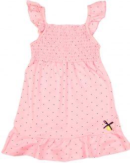 jasnoróżowa sukienka w groszki z falbankami letnia