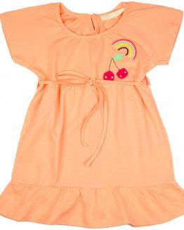 wiązana sukienka letnia różowo-łososiowa z haftem i falbanką
