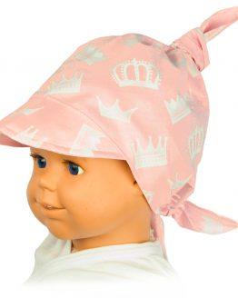 jasnoróżowa chusta na głowę z daszkiem w korony