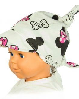 biała chusta na głowę w czarno-różowe myszki