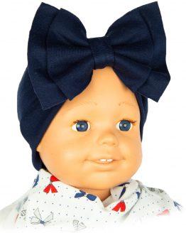 granatowa szeroka opaska na uszy dla dziewczynki z kokardą
