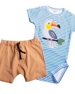 komplet niemowlęcy body w niebieskie paseczki z tukanem oraz beżowe szorty