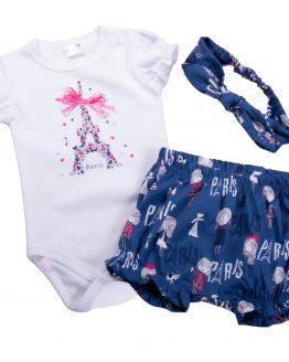 komplet niemowlęcy bloomersy paris opaska i body z marszczeniami
