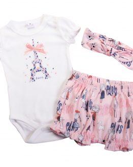 biało-różowy komplet niemowlęcy bloomersy body i opaska