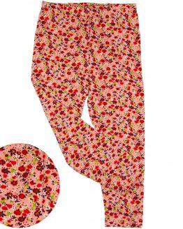różowe legginsy w czerwone kwiatuszki łączka