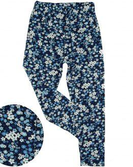 granatowe legginsy w białe i niebieskie kwiatuszki łączka