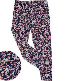 granatowe legginsy w jasnoróżowe kwiatuszki