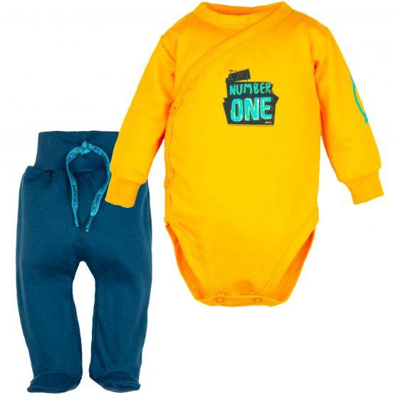 komplet wyprawka dla niemowlaka pomarańczone body kopertowe number one i granatowe półśpiochy ze sznureczkiem