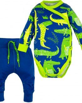 komplet niemowlęcy body kopertowe i baggy niebieskie w zielone krokodyle