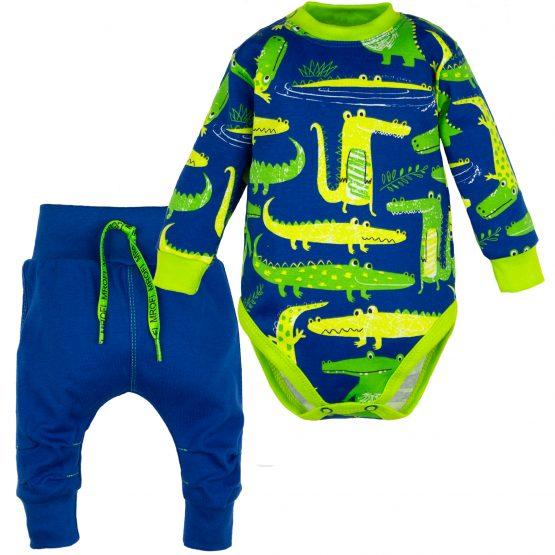 komplet krokodyl niebieskie spodnie baggy i body długi rękaw niebieskie w krokodyle