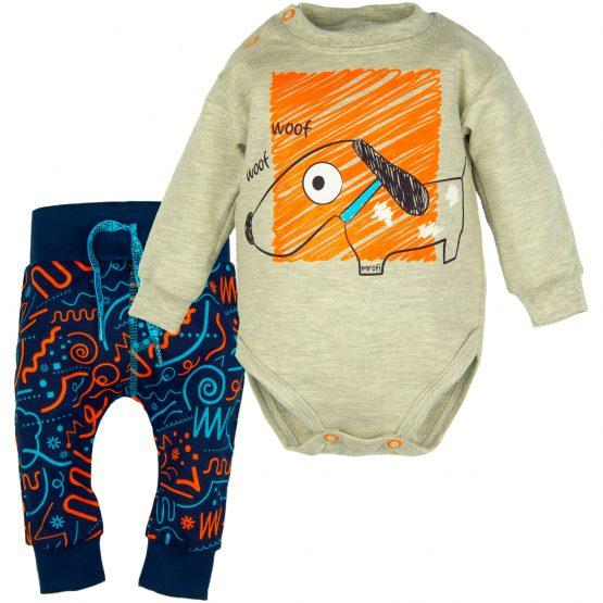 komplet niemowlęcy szare body z długim rękawem i baggy spodnie granatowe