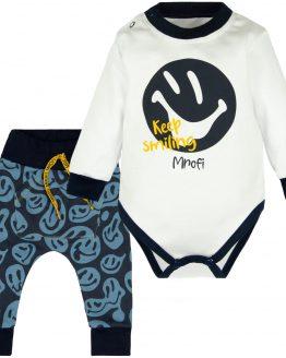 komplet niemowlęcy dla chłopca granatowe baggy smiling i body z długim rękawem i nadrukiem