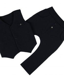 elegancki komplet dla niemowlaka granatoy kamizelka z guziczkami i spodnie baggy