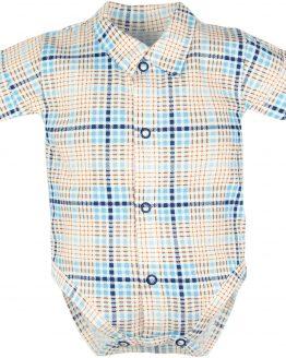 białe koszulobody bodokoszula w niebiesko-beżową krateczkę krótki rękaw