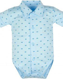 błękitne koszulobody body eleganckie w garantowy motyw z kołnierzykiem