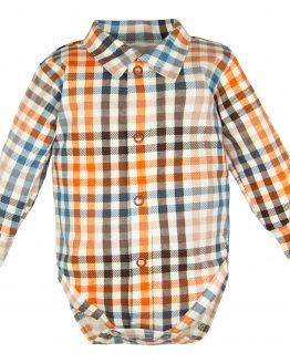 bodokoszula koszulobody długi rękaw w niebieską i rudą kratkę