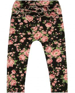 legginsy z falbankami czarne w pudrowe róże