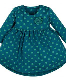 sukienka długi rękaw butelkowa zieleń w groszki z aplikacją
