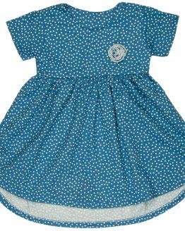 niebieska sukienka w białe groszki krótki rękaw