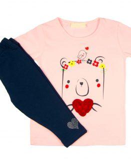 różowa tunika różane serce i granatowe legginsy z dżetami