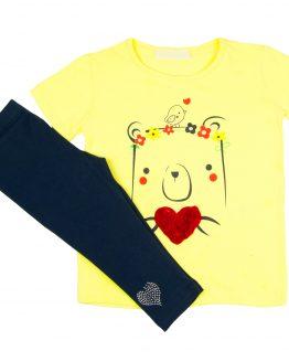 komplet letni dla dziewczynki granatowe legginsy 3/4 i zółta tunika różane serce