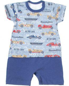 niebieski rampers niemowlęcy z krótkim rękawem auta