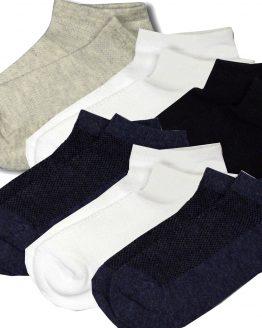 6 par skarpetek bawełnianych stopek ażurowych na lato białe szre granat czarne