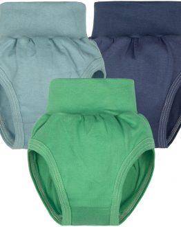 niebieskie granatowe i zielone majtki bawełniane dla chłopca niemowlaka bezucikowe na pampers