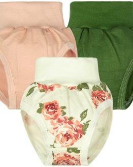 majtki na pampersa niemowlęce bezuciskowe pudrowy róż khaki i róże romantyczne