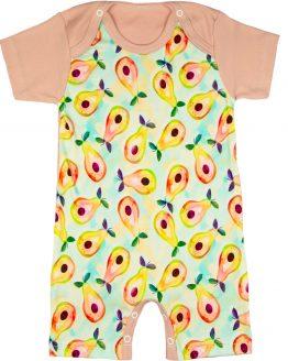 krótki rampers niemowlęcy pudrowy róż w gruszki piżamka letnia
