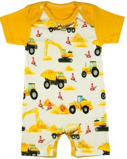 miodowy rampers w koparki i ciężarówki bawełniany dla chłopca