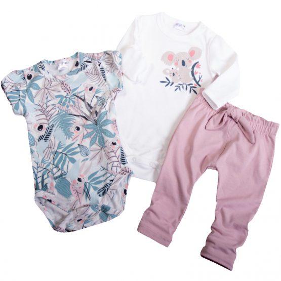 komplet niemowlęcy dla dziewczynki spodnie pudrowy róż białe body z nadrukiem koala i body w liście pastelowe krótki rękaw