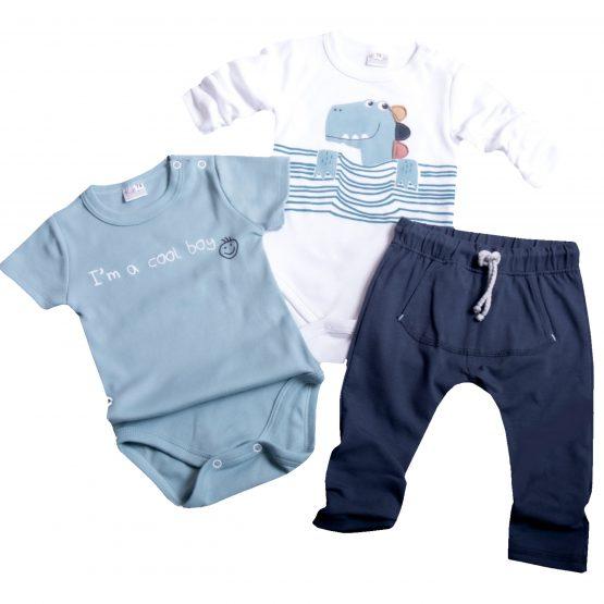 komplet niemowlęcy dla chłopca dino spodnie baggy granatowe i dwa body