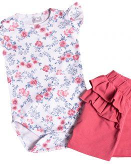 komplet body krótki rękaw w różyczki z haftem i krótkie spodenki pudrowy róż z falbankami na pupie