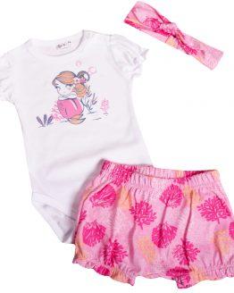 letni komplet niemowlęcy dla dziewczynki body krótki rękaw z falbankami różowe spodenki bloomersy i opaska pin up