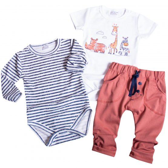 komplet niemowlęcy body krtki i długi rękaw i brązowe spodnie cienkie