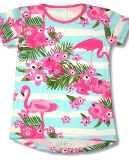 biało-blękitna bluzka krótki rękaw we flamingi