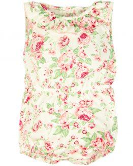 krótki rampers biały w róże angielskie i listki letni na upały dla dziewczynki