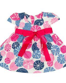 różowo-niebieskia sukienka letnia z krótkim rękawem z taśmą i kokardą
