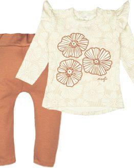 komplet dresowy dla dziewczynki w kwiaty z falbankami bluza i spodnie beżowe