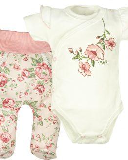 komplet półśpiochy różowe w róże angielskie i body kopertowe którki rękaw z falbankami