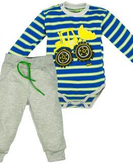 komplet dla chłopca body długi rękaw z koparką i szare spodenki