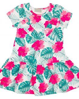 sukienka letnia krótki rękaw w egzotyczne kwiaty z falbankami