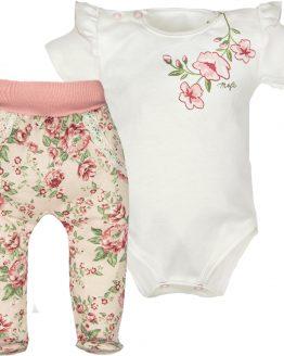 komplet dla dziewczynki półśpiochy w róże i jasne body krótki rękaw z falbankami