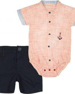 komplet czerwone koszulobody w paseczki z kieszonką i krótkim rękawem i eleganckie granatowe szorty
