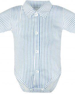 biało-błękitne koszulobody w paseczki krótki rękaw wizytowe body dla chłopca