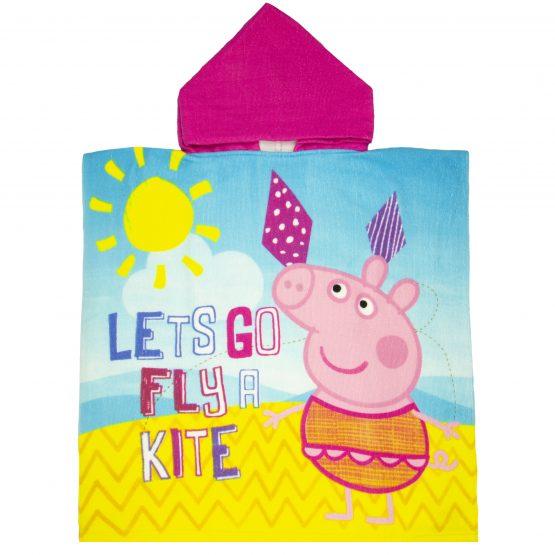 ponczo kąpielowe dla dziewczynki kolorwe peppa pig ręcznik plażowy z kapturem